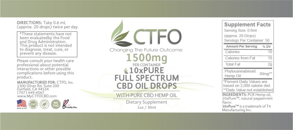 10xPURE Full Spectrum CBD Oil Drops – 1500mg