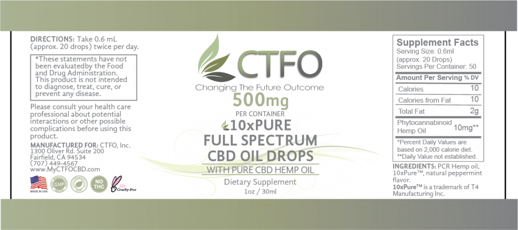 10xPURE Full Spectrum CBD Oil Drops – 500mg