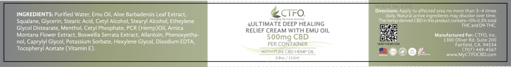 500mg CBD Ultimate Deep Healing Relief Cream with Emu Oil