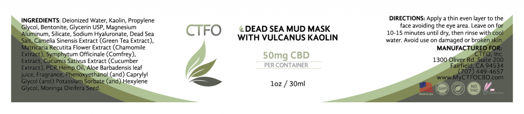 CBD Dead Sea Mud Mask with Vulcanus Kaolin – 50mg