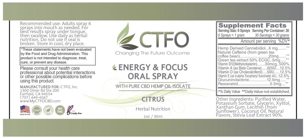 CBD Energy Blast and Focus Oral Spray 30ml