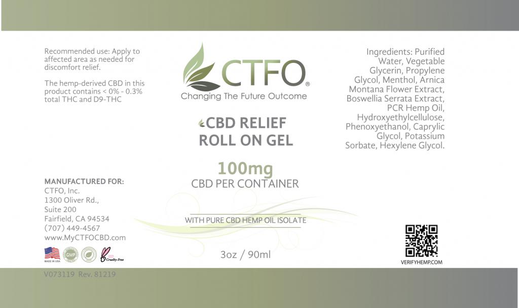 CBD Relief Roll On Gel - 100mg