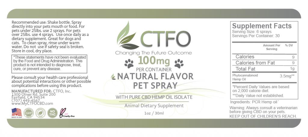CBD Natural Flavor Pet Spray - 100mg